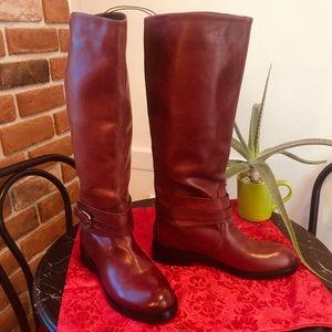 Joe Fresh Leather Riding Boot Mahogany Brown Color